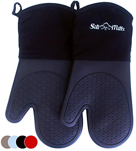 Black Silicone Pot Holder Oven Mitts - 1 Pair of Extra Long Professional Heat Resistant Pot Holder & Baking Gloves - Food Safe, BPA Free FDA Approved With Soft Inner Lining