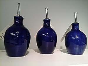 Hatfield Pottery Small Oil or Vinegar Bottle Sapphire Blue