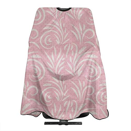 Haircut Barber Cape Cover Hair Apron,Pink Western Flourish Seamless Pattern Hair Salon Cape with Snap Closure for Hair Cutting,Styling and Shampoo 55