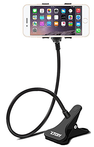 ZTON Cell Phone Holder, Universal Mobile Phone Stand, Lazy Bracket, Flexible Long Arms Clip Mount for IPhone, LG, etc.in Office Bedroom Desktop (Black)