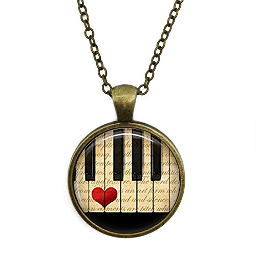 (JEANCZ Silver Necklace Retro Music Jewelry Piano Keyboard MusiciansSpecial Design Glass Cabochon Dome Jewelry)