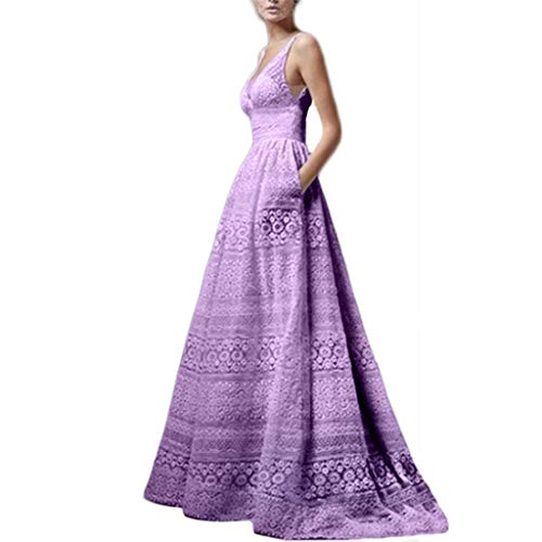 (LUNIWEI Ladies Summer V-Neck Sleeveless Cutout High Waist Sexy Dress Evening Dress Purple)