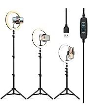"""ESR 10"""" Selfie Ring Light with Tripod Stand & Phone Holder, Dimmable Beauty Ring Light for Vlogs, Selfies, Makeup, Livestreaming, Videos, and Photography [Compatible with iPhone & Android]"""