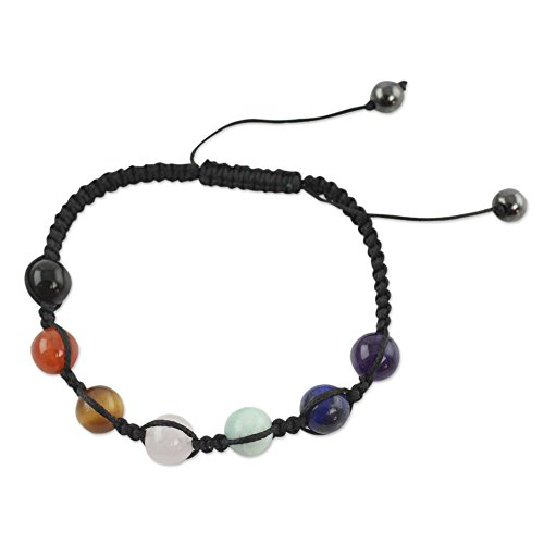 NOVICA Multi-Gemstone Nylon Macrame Adjustable Length Beaded Chakra Bracelet, 6.25