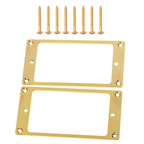 Jili Online Set of 2 Flat Bottom Humbucker Pickup Mounting Rings with Screws for LP Gibson Guitar Accessory ()