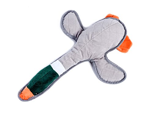 Petface Dog Toy, Squeaky Chew Toy, Tough Doris Duck, Grey/Green/Orange