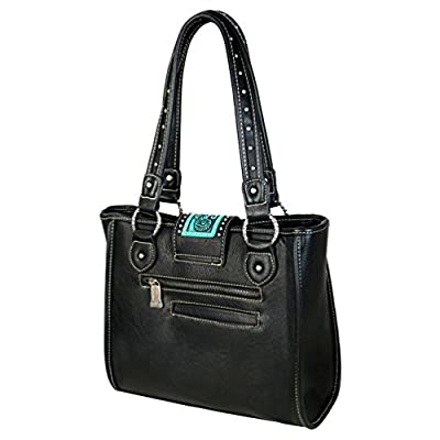 Trinity Ranch by Montana West Tooled Partial Leather Tote Handbags TR57-8390