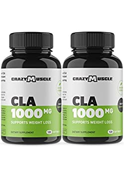 CLA Safflower Oil Pills 2 Month Supply 240 High Potency Non-GMO Softgels – 1000 mg CLA Supplements by Crazy Muscle