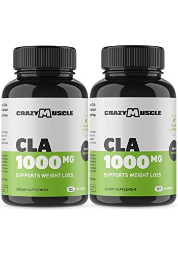 CLA Safflower Oil Pills (2 Bottles): 240 High Potency Non-GMO Softgels - Helps Increase Metabolic Rate Which Burns More Calories Fast - 1000 mg CLA Supplements by Crazy Muscle
