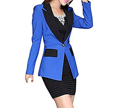 Festa Manica Donna Blau Outerwear Slim A Style Lunga Lungo Bavero Ragazze Contrasto Fit Ovest Button Emmay Giubotto Autunno Blazer Modern Colore Stile Business 8BBpvx