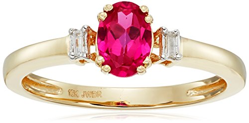 10k-Yellow-Gold-Created-Ruby-Oval-Shape-with-Baguette-Cut-White-Diamond-Accent-Ring-Size-7