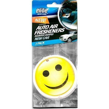 Face Fresheners (Elite Hanging New Car Scent Smiley Face Air Fresheners- 2 Packs (6 Total Air Fresheners))