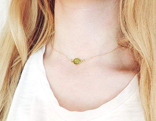 August Birthstone Peridot Pendent Choker Necklace, August Birthstone Necklace, Best Friend Necklace, BFF Necklace,