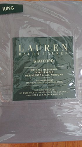 Stafford Bedding (Lauren Ralph Lauren 4 Piece Cotton Wrinkle Resistant King Size Sheet Set Solid Gray -- Stafford)