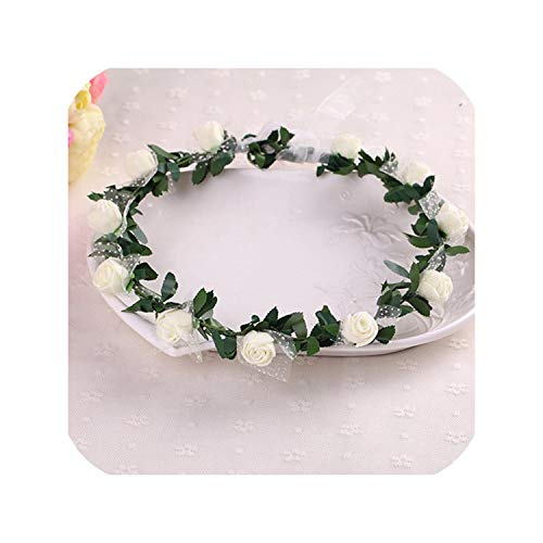 Sale Plant Hot Women Girl Bride Hair Wreaths Flower Headband Rose Crown Forehead Floral Band For Party Wedding Hand Wreath,06 (Wreaths Online For Sale)