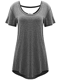 Meaneor Women's Cross Back Basic Short Sleeve Comfy Loose Fit Long Tunic Top