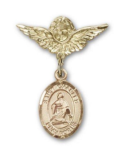 Icecarats Or Bijoux De Créateurs Rempli R. Charles Charme Borromeo Ange Broche De Badge 1 X 3/4