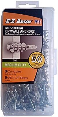Amazon Com E Z Ancor Kit 50 Zinc Self Drilling Drywall Anchors With 50 Phillip Screws 8 X 1 1 4 Home Improvement