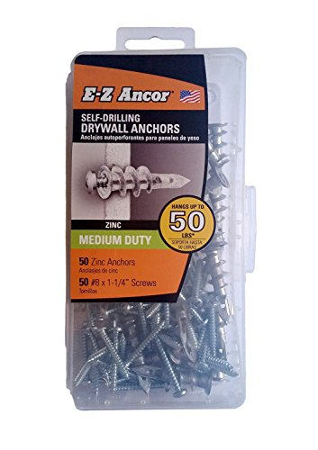 E-Z Ancor kit, 50 Zinc Self Drilling Drywall Anchors with 50 Phillip Screws #8 x 1-1/4 (Ez Plastic Anchor)