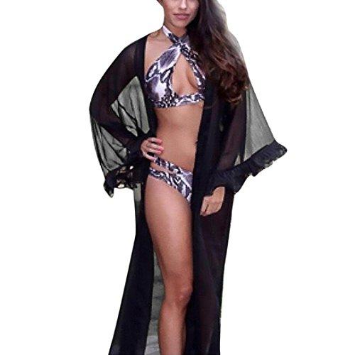(Women Sexy Sheer Mesh Flared Sleeve Cover up Sunscreen Long Bathrobe Kimono Pajamas (Black, Size:S))