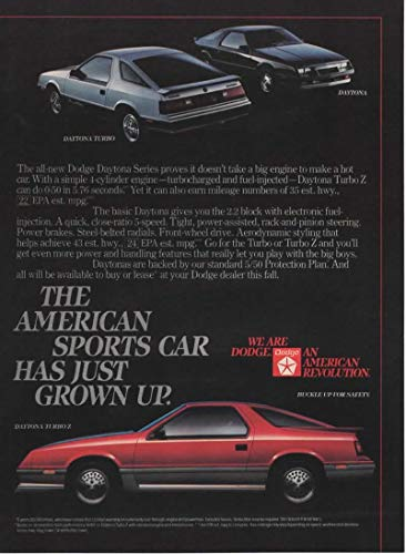 "Magazine Print Ad: 1984 Red Dodge Daytona Turbo Z,""The American Sports Car Has Just Grown Up"""