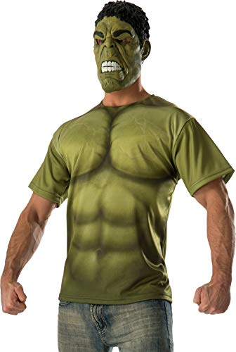 Rubie's Costume Co Men's Avengers 2 Age Of Ultron Adult Hulk T-Shirt and Mask, Green, Large