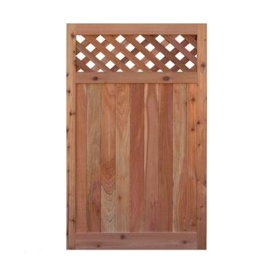 Signature Development 3.5 ft. H W x 6 ft. H H Western Red Cedar Flat Top Diagonal Lattice Fence Gate (Lattice Gate)