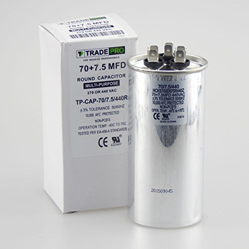 70/7.5 MFD 440 or 370 Volt Round Run Capacitor Replacement TradePro 70+7.5