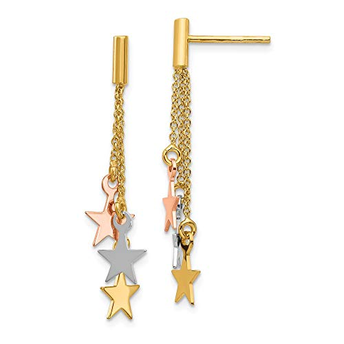 14K Tri Color Gold Plated Polished Dangle Stars Post -