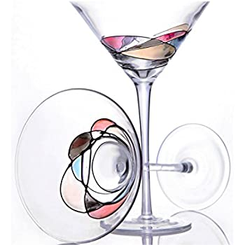 Handcrafted and Painted Martini Glasses by Sonoma Artisan, Set of 2. Ideal for Casual Entertaining, Unique Gift Idea, Romantic Night in, or Just Elevating Your Cocktail Enjoyment