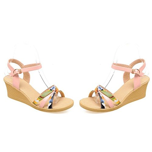 Sandals Pink Heel Shoes Wedge Women Zuban Chila wqZS1RR