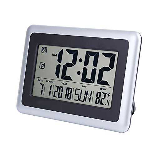 """(OCEST Digital Alarm Wall Clock Large Display 7.5"""" LCD Screen with Date Time Indoor Temperature Alarm Function Easiest Set)"""