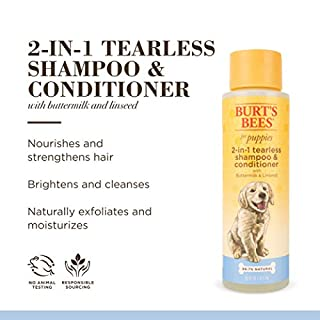 Burt's Bees Dog Shampoo for Puppies, 2 in 1 Shampoo and Conditioner, Buttermilk and Linseed Oil, 16 Oz