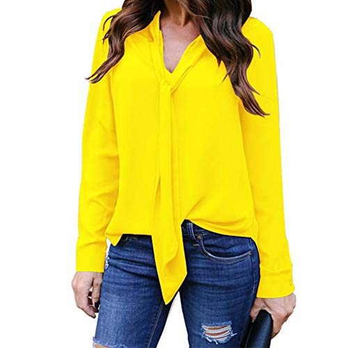 Womens Solid Long Sleeve V-Neck Fancy Tie Chiffon Office Shirt Elegant Tops Yellow