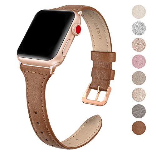 SWEES Leather Band Compatible for Apple Watch iWatch 38mm 40mm, Slim Thin Dressy Elegant Genuine Leather Strap Compatible iWatch Series 4 Series 3 Series 2 Series 1 Sport Edition Women, Brown