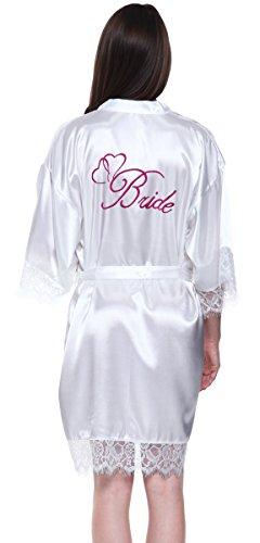 JOYTTON Women Satin Kimono Wedding Party Robe with Embroidered Bride Bridesmaid