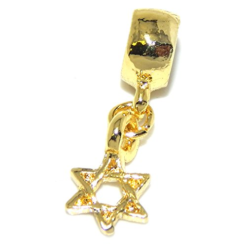 GemStorm Silver Plated Dangling Gold Tone 'Star of David' For European Snake Chain Bracelets (Charm Pandora Star Jewish)