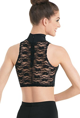 [Balera Dance Crop Top Mock Neck Sleeveless Lace Back Black Adult Medium] (Dance Costumes For Competition For Adults)