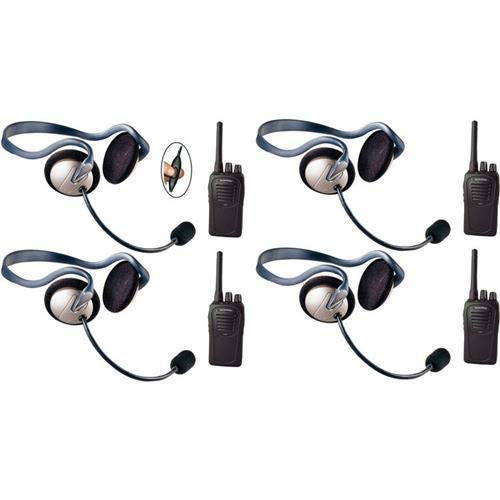 Eartec SC-1000 4-User Two-Way Radio System with 4X Monarch Inline PTT Headsets -