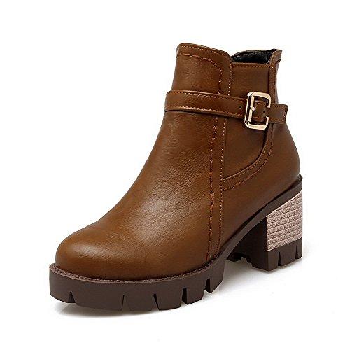 WeiPoot Solid Toe Heels Women's PU Round Brown Zipper Closed Boots Kitten 1pP1A