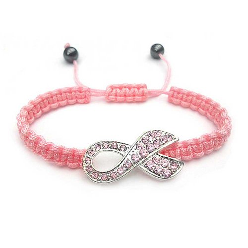 Pink Breast Cancer Bracelet (Bling Jewelry Simulated Pink Topaz Crystal Breast Cancer Awareness Ribbon Bracelet Silver Plated)
