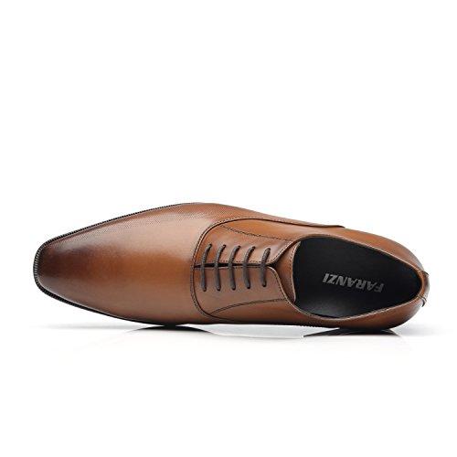 Faranzi Menn Kjole Sko Blonder Opp Zapatos De Hombre Komfortable Klassiske Moderne Formelle Virksomheten Oxford Sko For Menn Lykke-en-brown