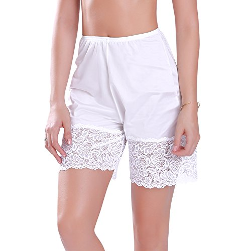Smooth and Silky Pettipant Bloomers with Wide Lace Panel Hem Slip Shorts in 18 or 24 inch length