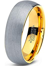 Tungsten Wedding Band Ring 7mm Men Women Comfort Fit 18k Yellow Gold Plated Grey Dome Brushed