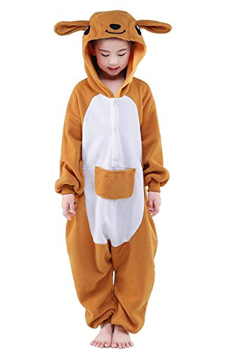 Polar Flannel Children Kangaroo Onesies Halloween Costumes (Kangaroo,125#) ()