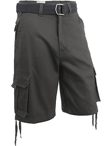 (Hat and Beyond Mens Twill Cargo Shorts with Belt Loose Fit Cotton Multi Pocket Outerwear (36/1ih03_Dark Gray))