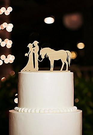 Rustikal Holz Hochzeit Kuchen Topper Pferd Country Birde Und