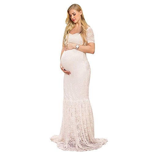 COSYOU Sexy Deep V-Neck Maternity Short Sleeve Summer White Lace Dress Beach Maxi Dress Baby Shower Party Dress (L, White 2)