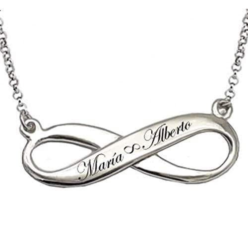 Colgante Infinito de plata- Collar para Mujer -Colgante Personalizado