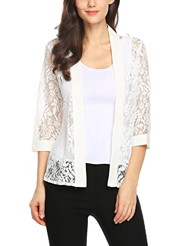 Grabsa Women's Office Lace Chiffon Cardigan 3/4 Sleeve Open Front Tops White Large